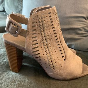 Light pink suede heeled boots